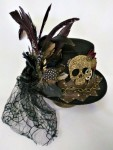 Skull Feathers Steampunk Hat