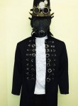 Jacket with buckles.