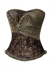 Brown Striped steampunk Corset