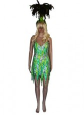 Lime Green Showgirl and Headpiece