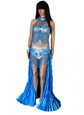 Long Blue 3 piece Showgirl outfit