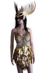 Gold Teardrop Dress and Headpiece